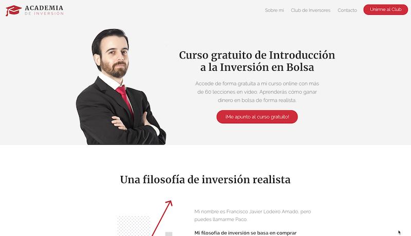 academia de inversión.com aspecto página web