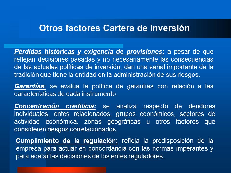 cartera de inversión factores