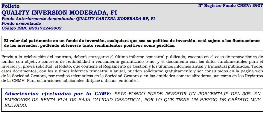 inversión moderada quality folleto