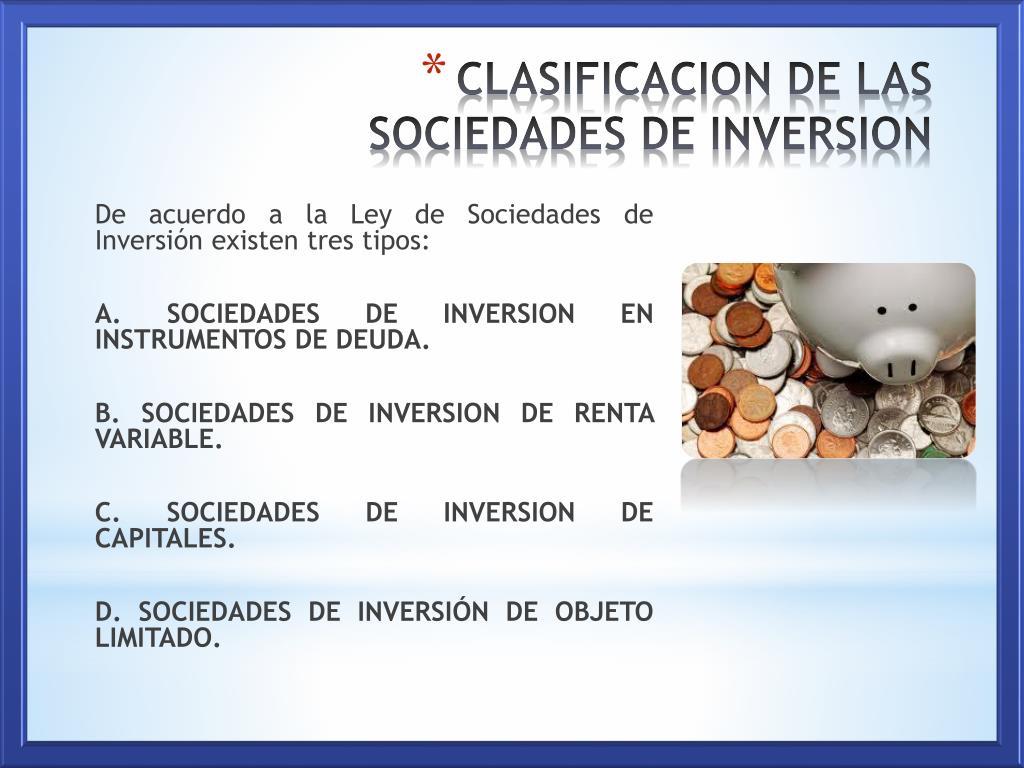 sociedades de inversión clasificación