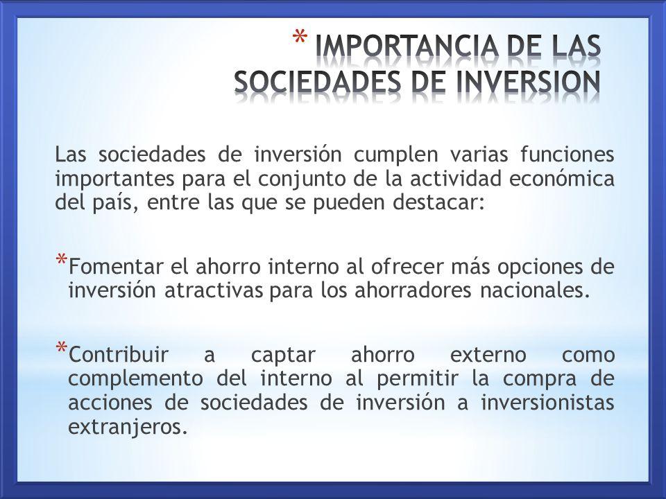 sociedades de inversión importancia